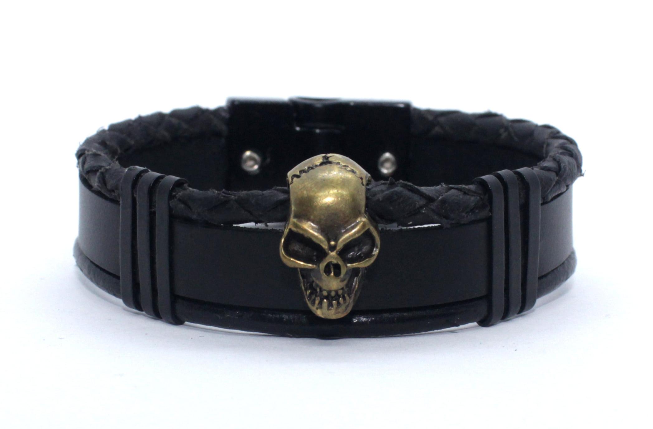 Bracelete de Couro Skull M-1