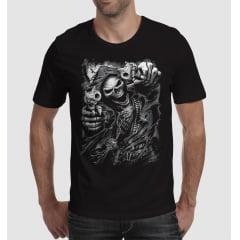 Camiseta caveira armed skull Monocromática