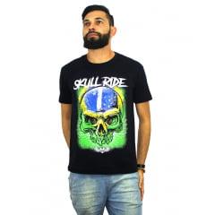 camiseta Patriotic Brazilian Skull (caveira brasileira patriota)